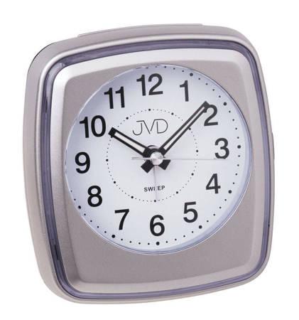Budzik JVD srebrny drzemka płynący 10 cm SRP312.3