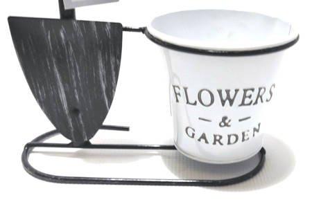 Osłonka, doniczka na kwiaty retro METAL biedronka