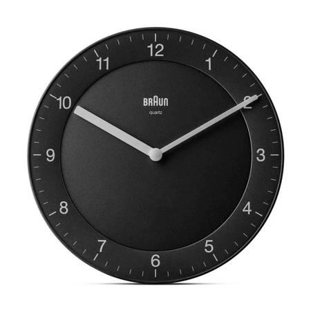Zegar Braun ścienny czarny CICHY 20 cm BC06B