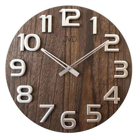 Zegar JVD ścienny DREWNIANY srebrny 40 cm HT97.3