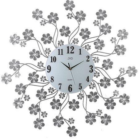Zegar JVD ścienny DUŻY 59 cm  KWIATY DESIGNERSKI HJ85.1