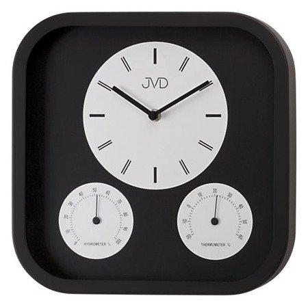 Zegar JVD ścienny aluminium nowoczesny higrometr temp. H1525.1