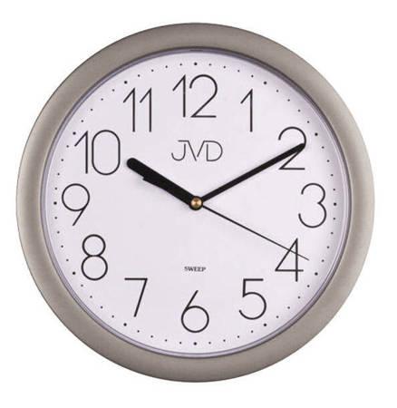 Zegar JVD ścienny czytelny srebrny CICHY HP612.7