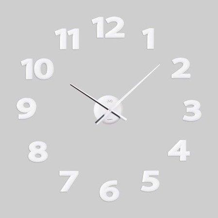 Zegar naklejany białe CAŁE CYFRY 80 cm HB12.2