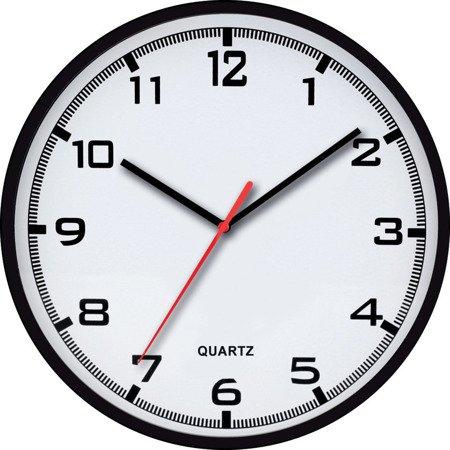 Zegar ścienny 25,5 cm czarny nowoczesny czytelny tworzywo E01.2478.90.A