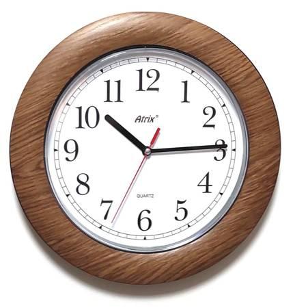 Zegar ścienny DREWNOPODOBNY brązowy cichy T1217JD