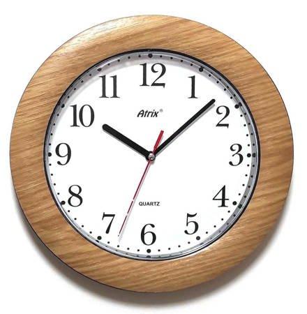 Zegar ścienny DREWNOPODOBNY brązowy cichy T1217T