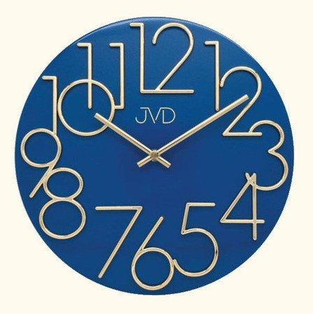 Zegar ścienny JVD METALOWY złoto-niebieski HT23.3