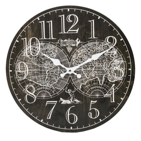 Zegar ścienny MDF retro MAPA ŚWIATA 34cm 124263