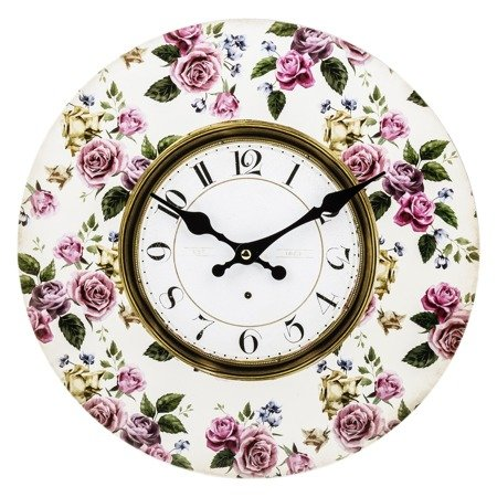 Zegar ścienny MDF retro RÓŻE pastele 34 cm 124265