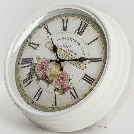 Zegar ścienny METALOWY róże DUŻY 39 cm retro 86093