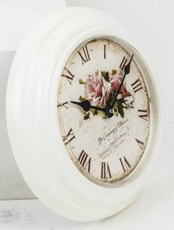Zegar ścienny METALOWY róże EFEKTOWNY retro 86098