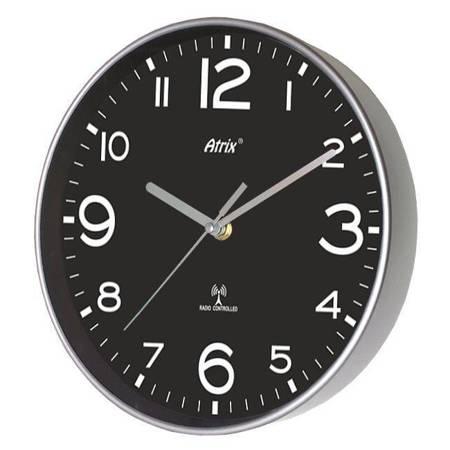 Zegar ścienny RADIOWY srebrny czarnyATE2303SSRC BL