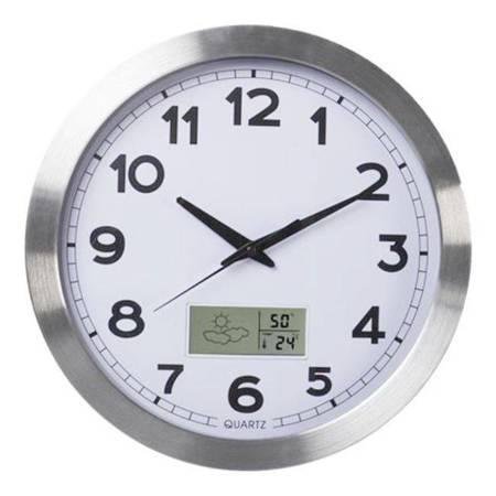Zegar ścienny STACJA POGODY aluminium AL102LCD SW