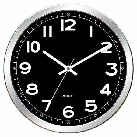 Zegar ścienny czarny nowoczesny czytelny E01.2980.7090