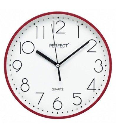 Zegar ścienny czerwony nowoczesny czytelny tworzywo FX-5814 Red