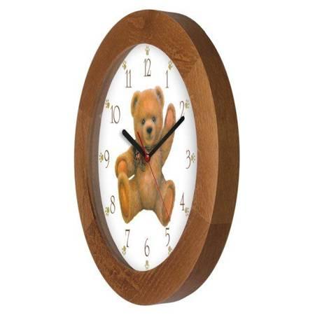 Zegar ścienny dla dzieci MIŚ drewno ATW300M1 JD SW