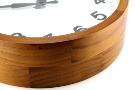 Zegar ścienny drewniany buk gruba obudowa średni E07.3661.5000