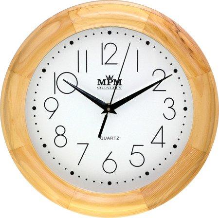 Zegar ścienny drewniany klasyczny w kolorze sosny E01.2473.53.W