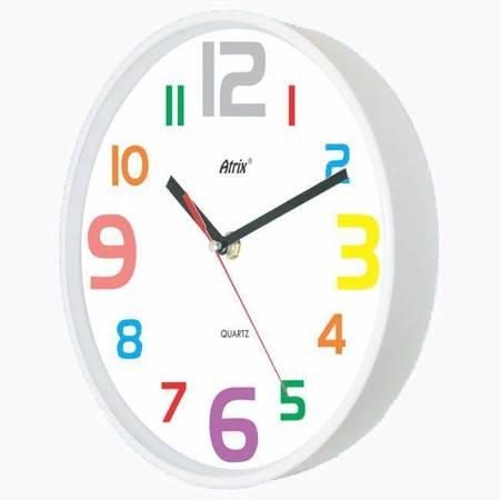 Zegar ścienny dziecięcy KOLOROWY 30cm ATE2015WK SW