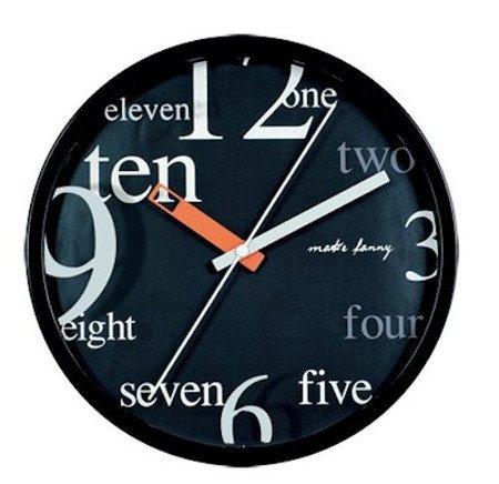 Zegar ścienny dziecięcy czarny cichy 9171 Black
