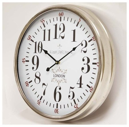 Zegar ścienny metalowy srebrny loft elegancki  średni 106492