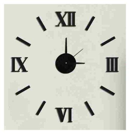 Zegar ścienny naklejany DIY czarny 50 cm E01.3511