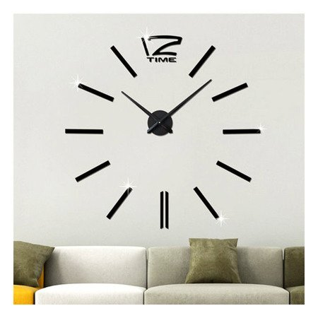 Zegar ścienny naklejany DIY czarny duży 100 cm DIY01B4
