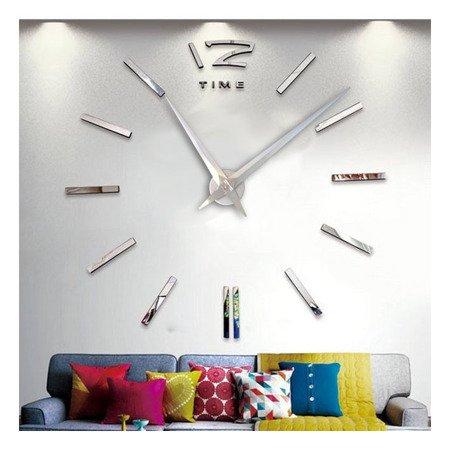 Zegar ścienny naklejany DIY srebrny lustro duży 110 cm DIY01S1
