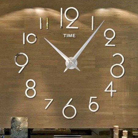 Zegar ścienny naklejany DIY srebrny lustro duży 100 cm DIY16S4