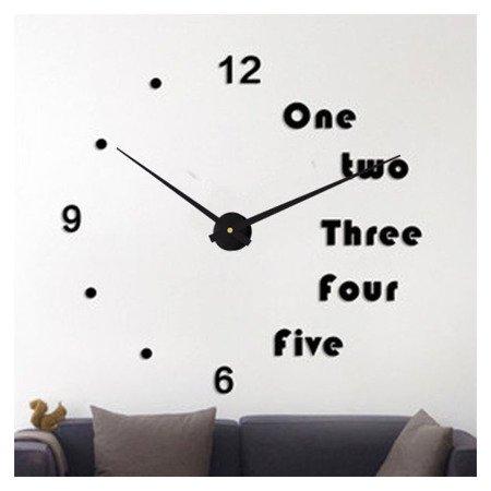 Zegar ścienny naklejany czarny DUŻY 110 cm DIY17B3