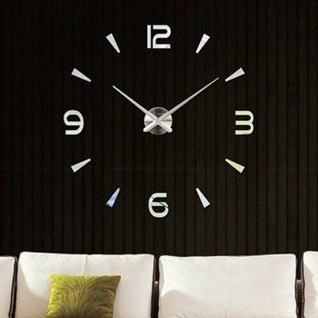 Zegar ścienny naklejany srebrny lustro duży 100 cm DIY15S4