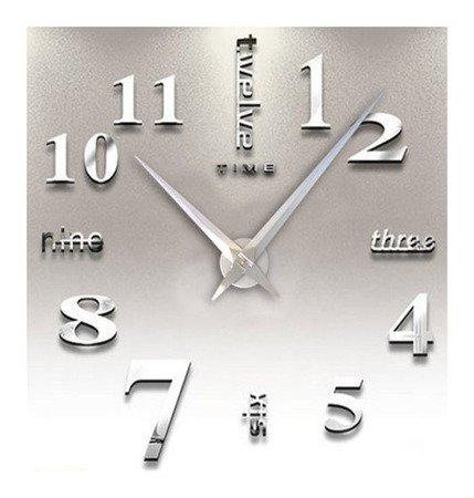 Zegar ścienny naklejany srebrny lustro duży 120 cm DIY02S1