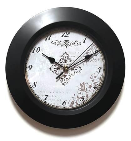 Zegar ścienny retro czarna obudowa 25 cm 3079