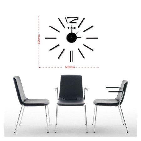 Zegar ścienny naklejany DIY czarny 50 cm MPM E01.3510