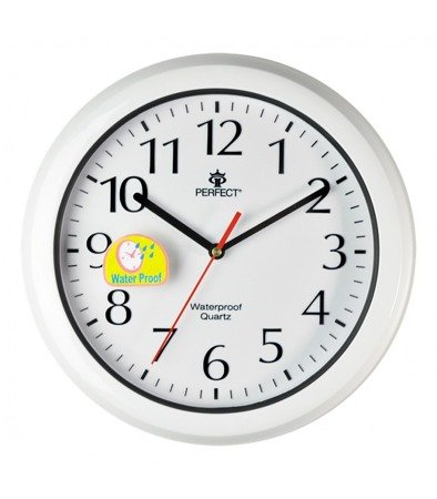 Zegar ścienny wodoodporny biały nowoczesny czytelny WL665 White